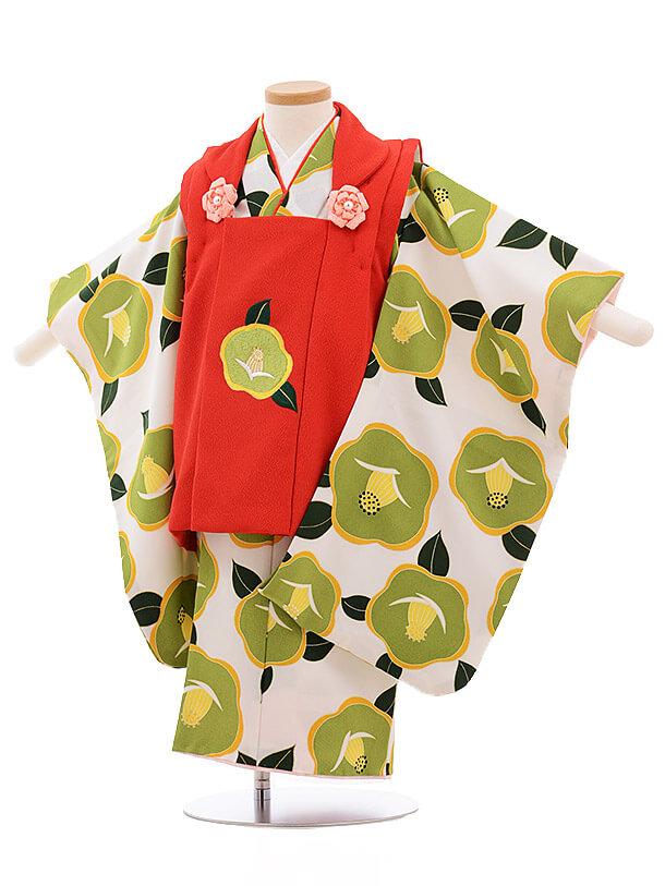 七五三レンタル(3歳女被布)3489 赤×白地 グリーン椿