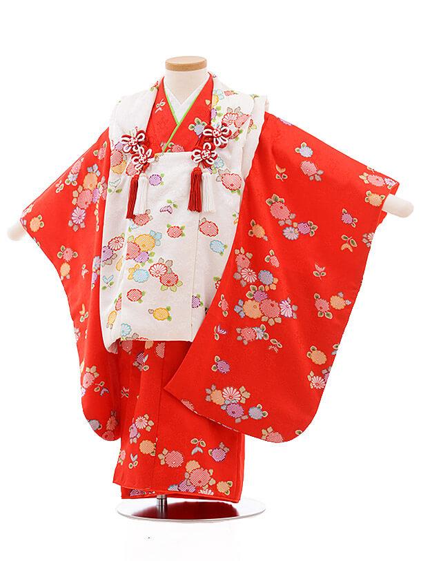 七五三レンタル(3歳女被布)3496 白×赤地 小花