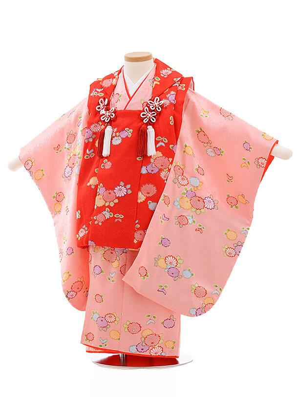 七五三レンタル(3歳女被布)3497 赤×ピンク地 小花