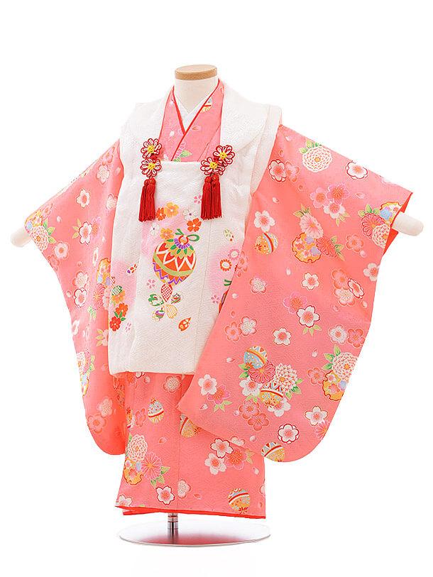 七五三レンタル(3歳女被布)3498 白×ピンク地 まり 花