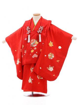 七五三レンタル(3歳女被布)3500 赤×赤地 まり 桜