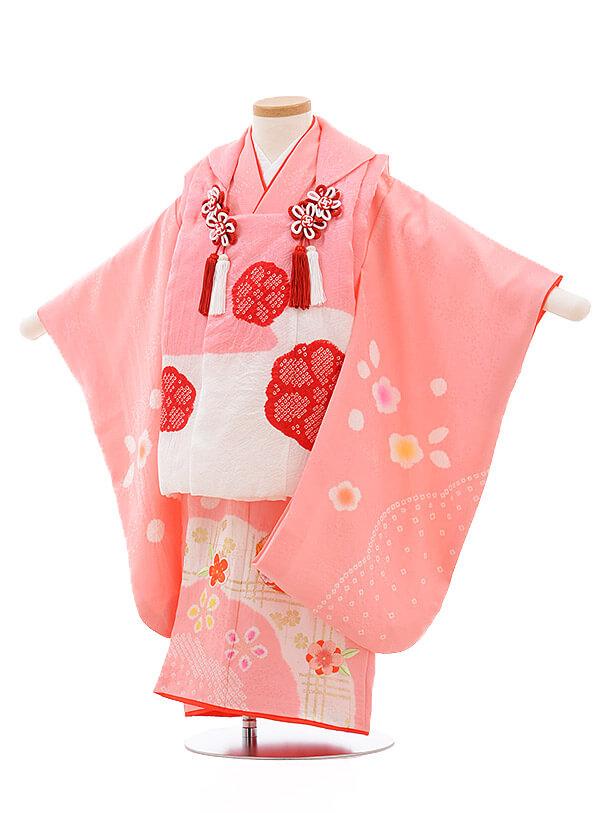 七五三レンタル(3歳女被布)3501 ピンク×ピンク地 まり