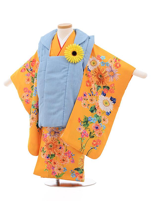七五三レンタル(3歳女被布)3504 チャイルドール ダンガリー オレンジ 花