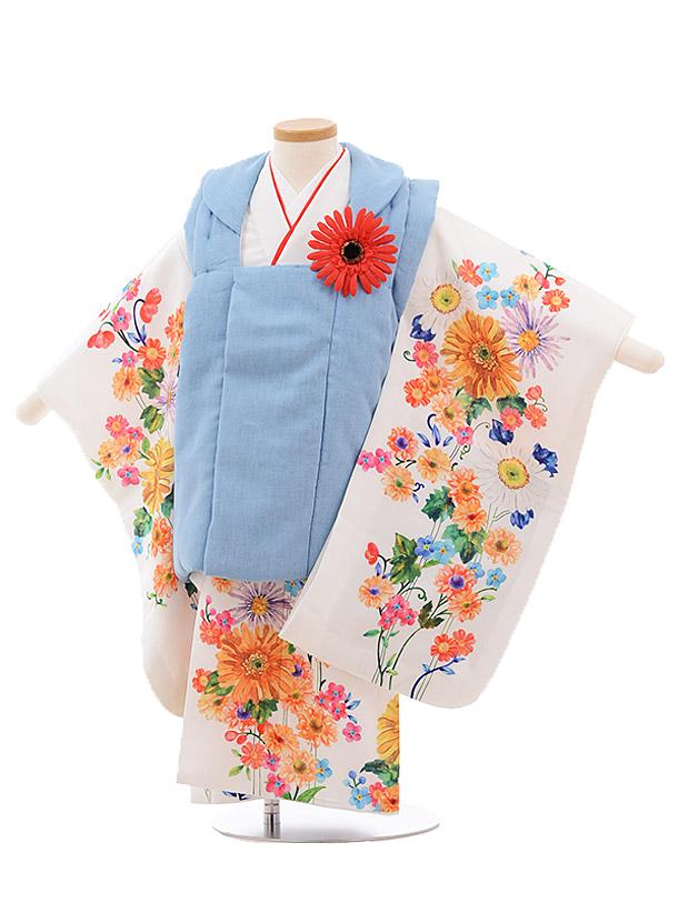 七五三レンタル(3歳女被布)3505 チャイルドール ダンガリー×白 花