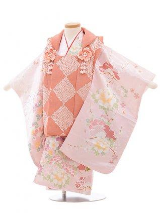 七五三(3歳女子被布) 3506 cotocomachi ピンク 花