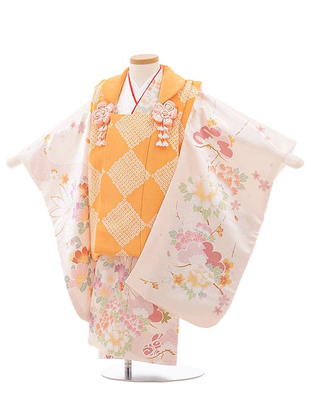 七五三(3歳女被布) 3507 cotocomachi オレンジクリーム 花