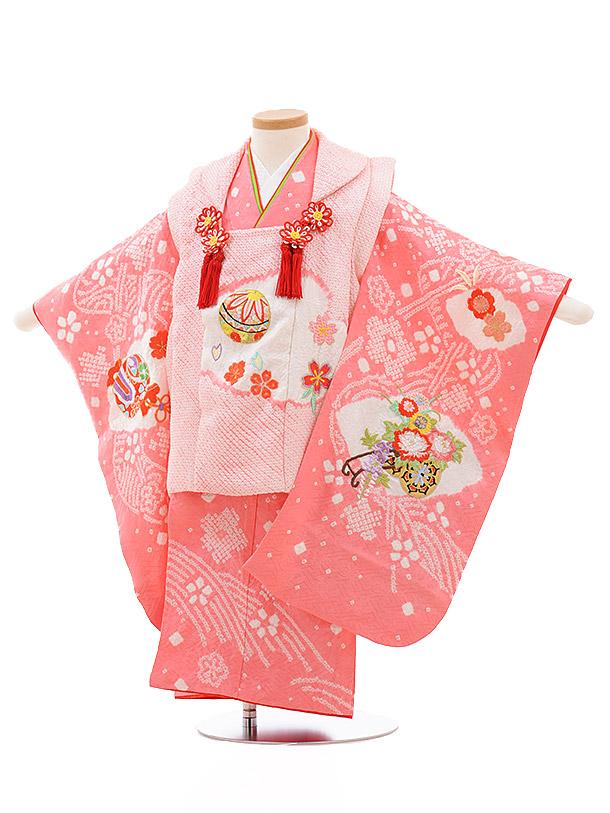 七五三レンタル(3歳女被布)3509 ピンク 絞り 刺繍