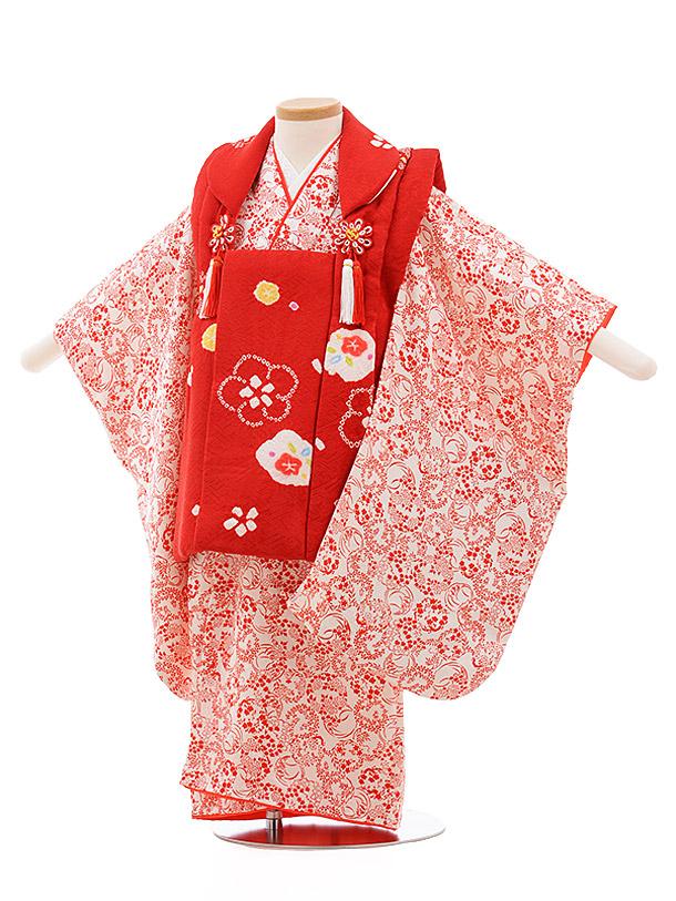 七五三(3歳女子被布) 3511 赤×オフホワイトに赤小花