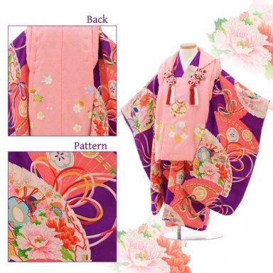 七五三(3歳女子被布) 3515 アンティーク ピンク×紫 花扇