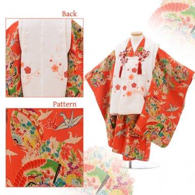 七五三(3歳女子被布) 3516 アンティーク 白×オレンジ 折り鶴に花