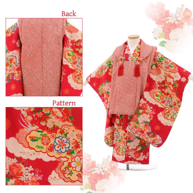七五三レンタル(3歳女被布)3520 アンティーク 赤絞り×チェリーピンク 花