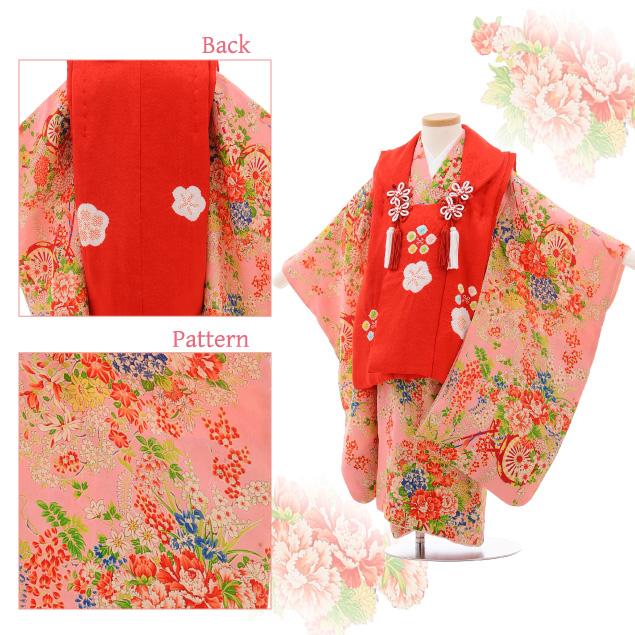 七五三レンタル(3歳女被布)3522 アンティーク 赤×ピンク地 花車