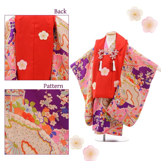 七五三(3歳女被布) 3529 アンティーク 赤×ピンク まり 扇