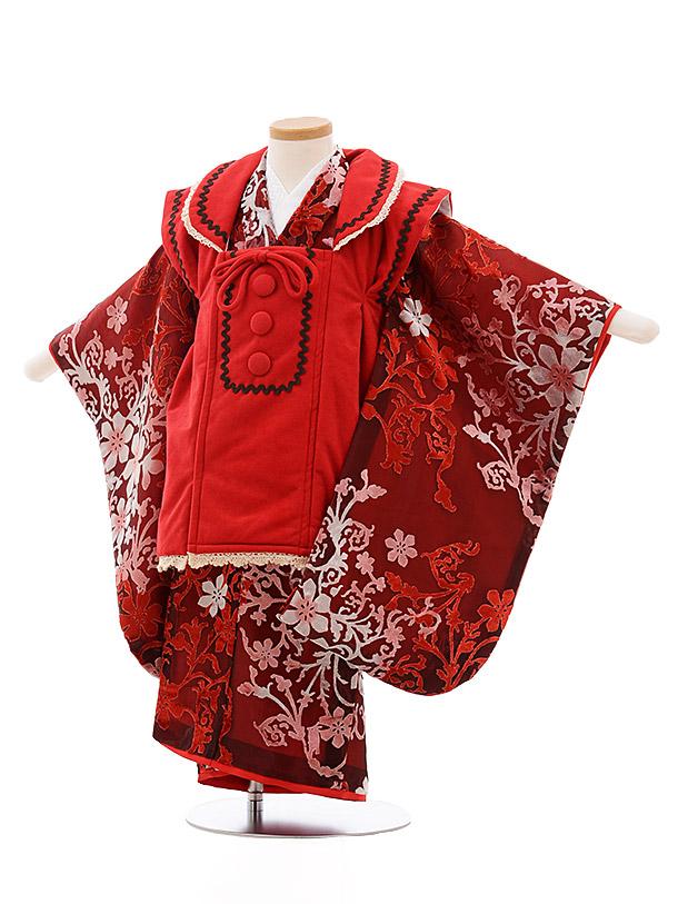 七五三(3歳女被布) 3531 ぷちぷり 赤ベルベット 花