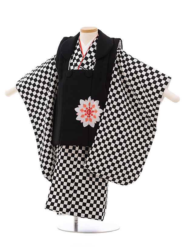 七五三(3歳女子被布) 3532 黒×黒白 市松