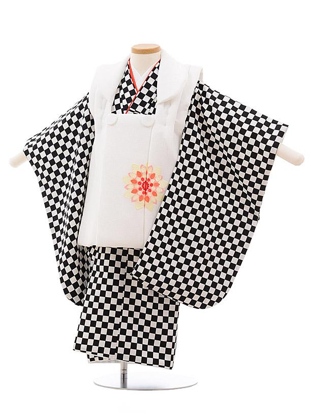 七五三(3歳女子被布) 3533 白×黒白 市松