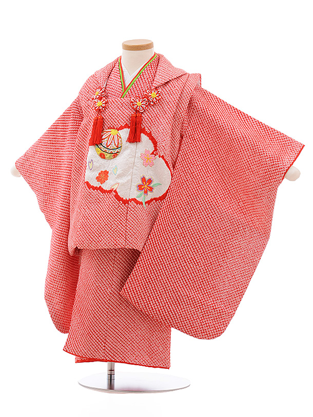 七五三レンタル(3歳女児被布)3540 赤 絞り 刺繍 雲取 まり