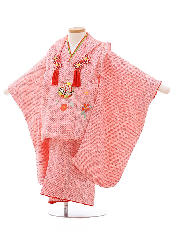 七五三レンタル(3歳女児被布)3541 ピンク 絞り 刺しゅう まり