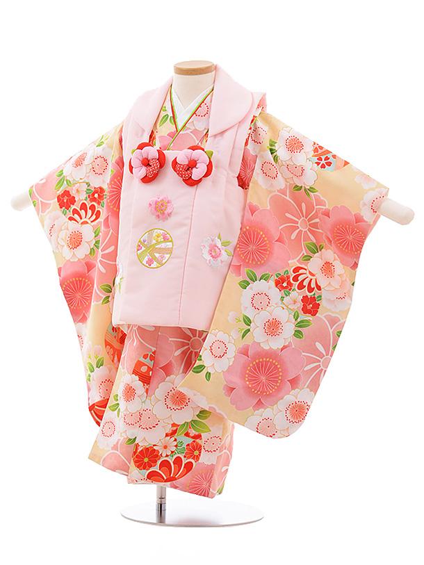 七五三レンタル(3歳女児被布)3543 ピンクまり×ピンク桜