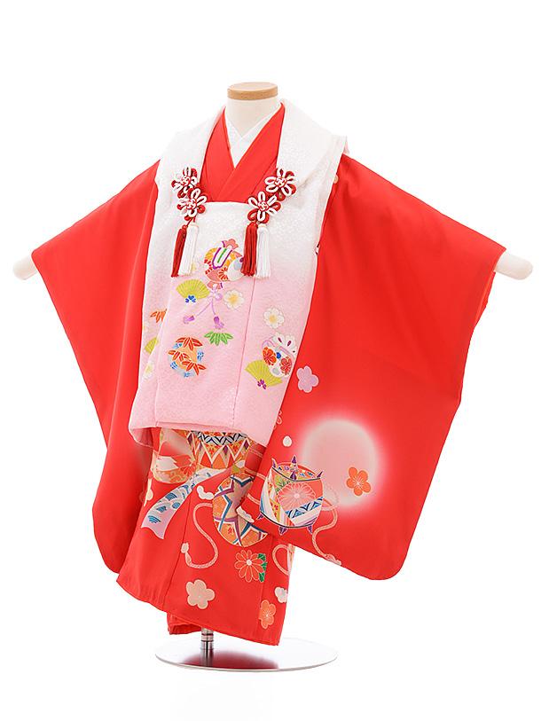 七五三レンタル(3歳女児被布)3544 正絹 白ピンクぼかし×赤まり