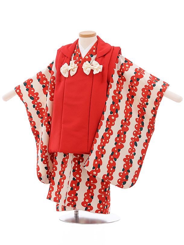七五三レンタル(3歳女児被布)3546 赤×白地 椿