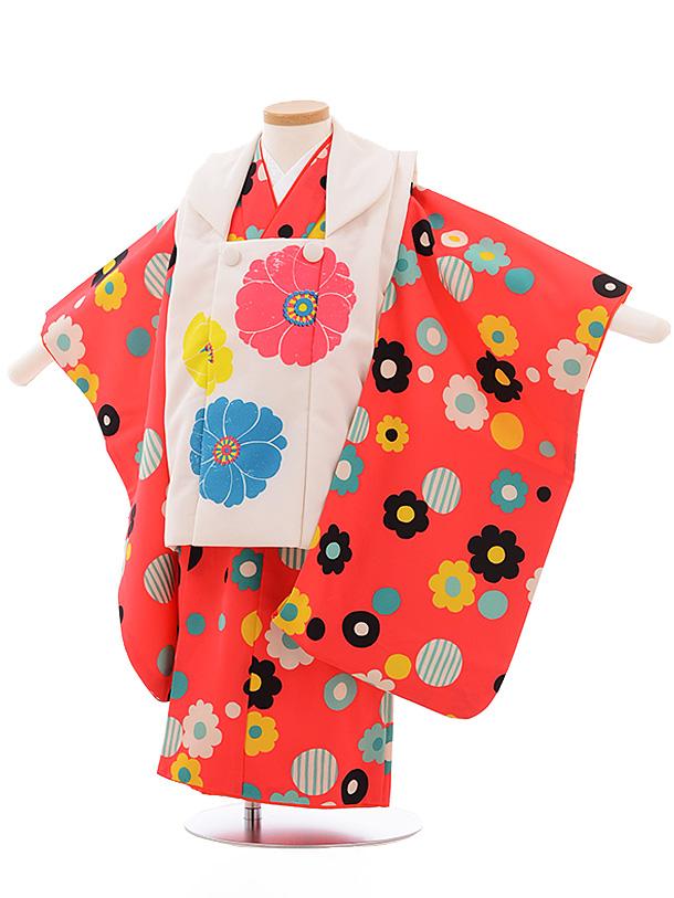 七五三レンタル(3歳女児被布)3547 LILLI 白×ピンク 花