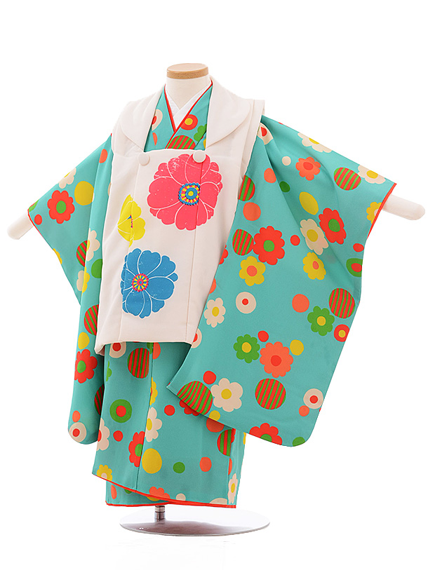 七五三レンタル(3歳女児被布)3549 LILLI 白×グリーン 花