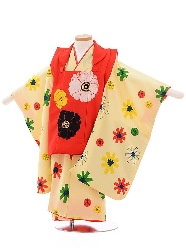 七五三レンタル(3歳女児被布)3550 LILLI 赤×黄色 花