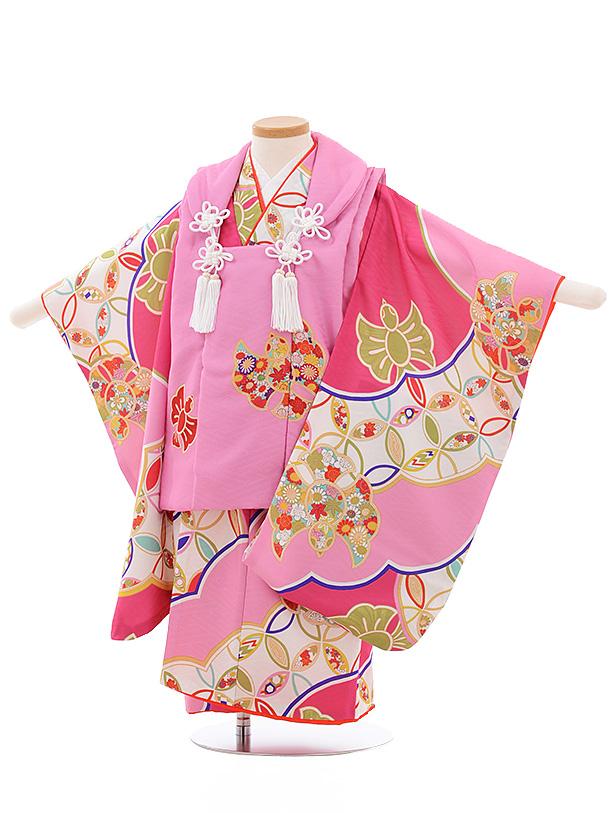 七五三レンタル(3歳女児被布)3551 式部浪漫 ピンク×ピンク 古典