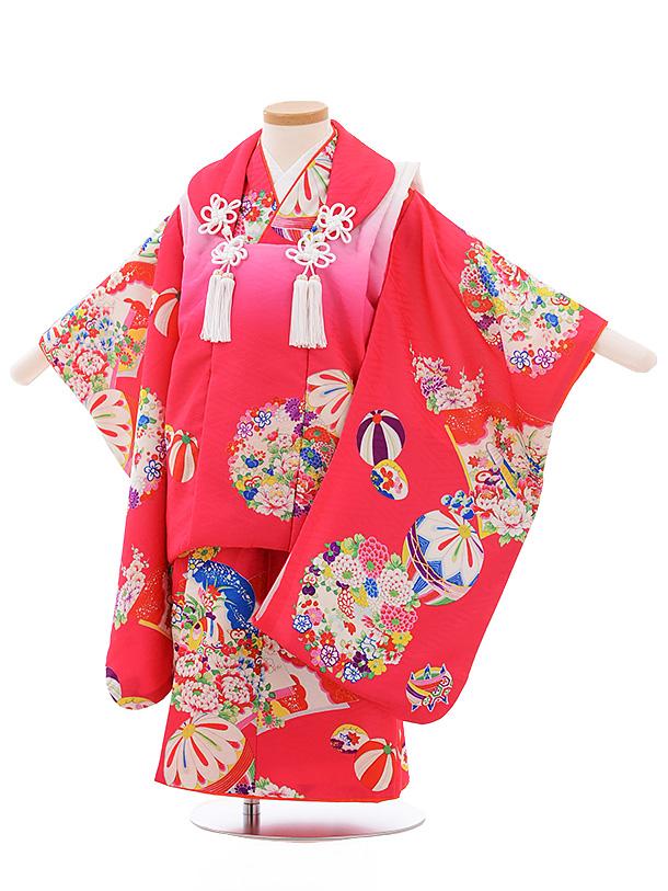 七五三レンタル(3歳女児被布)3552 式部浪漫 ピンクぼかし×ピンク地 まり