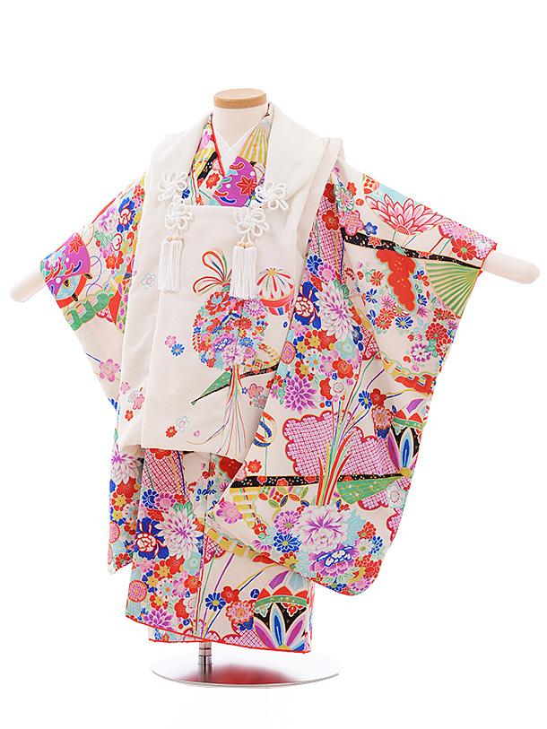 七五三レンタル(3歳女児被布)3554 式部浪漫 白ぼかし×白地 扇に花