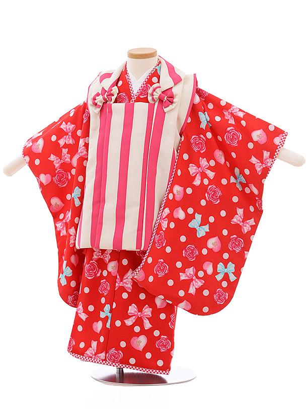 七五三レンタル(3歳女児被布)3560 ピンクストライプ×赤 ドット リボン