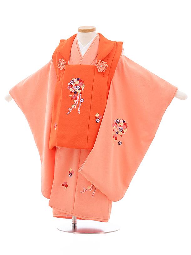 七五三レンタル(3歳女児被布)3564 オレンジ×うすオレンジ ブーケ