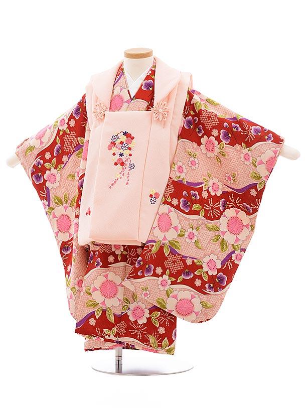 七五三レンタル(3歳女児被布)3565 ピンク×エンジピンク 桜