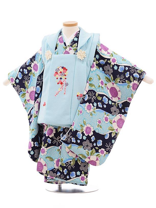 七五三レンタル(3歳女児被布)3566 水色×紺 水色 桜