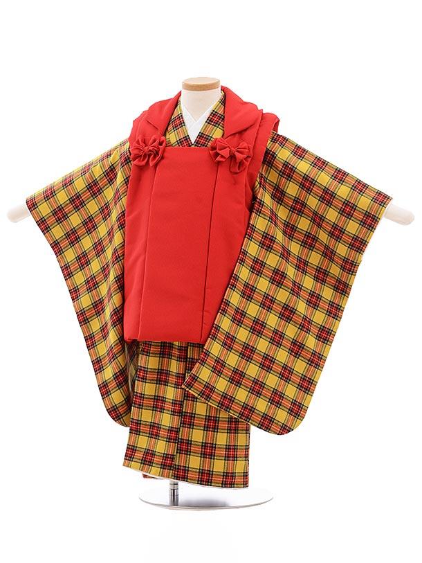 七五三レンタル(3歳女児被布)3568 赤×黄色 チェック