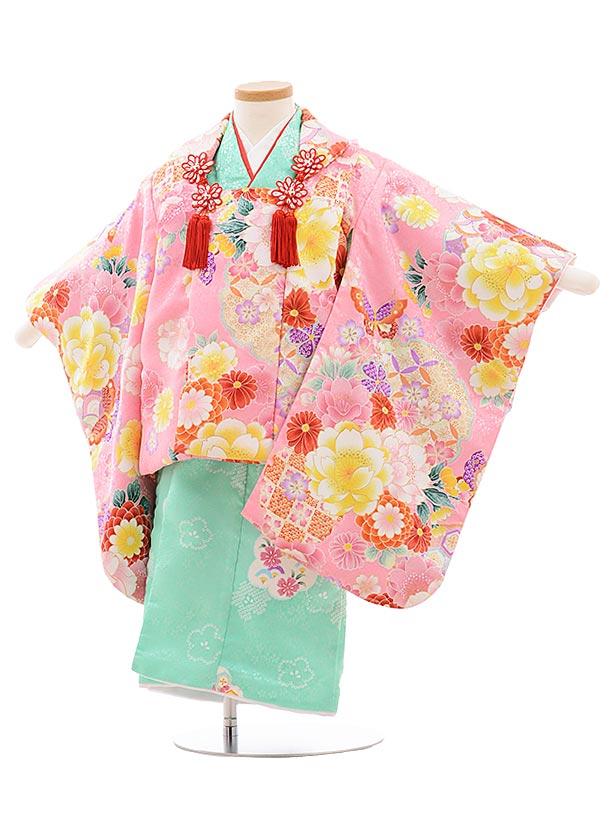 七五三レンタル(3歳女児被布)3572 ピンク袖付き被布×グリーン
