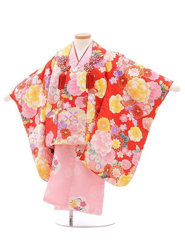七五三レンタル(3歳女児被布)3574 赤地袖付き被布×ピンク