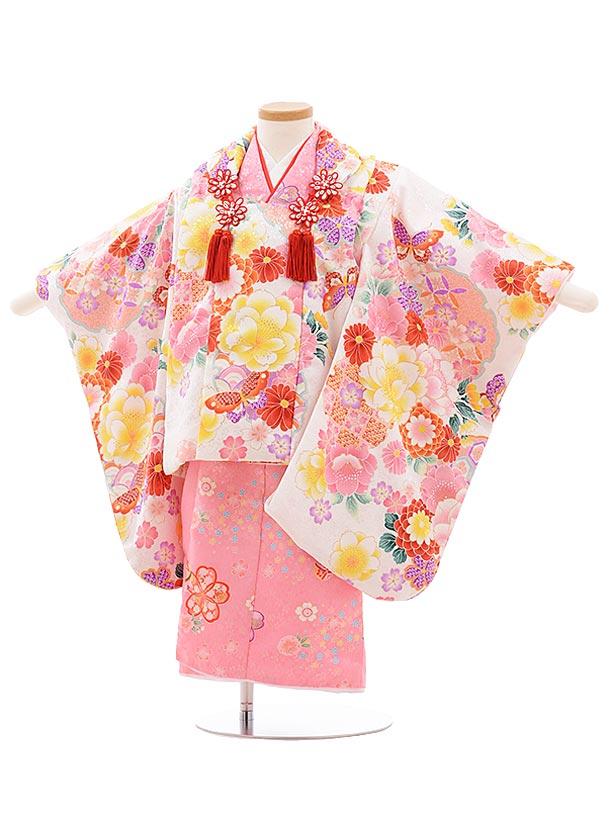 七五三レンタル(3歳女児被布)3575 白地袖付き被布×ピンク