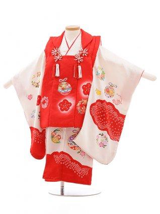 七五三レンタル(3歳女児被布)3578 正絹 赤×