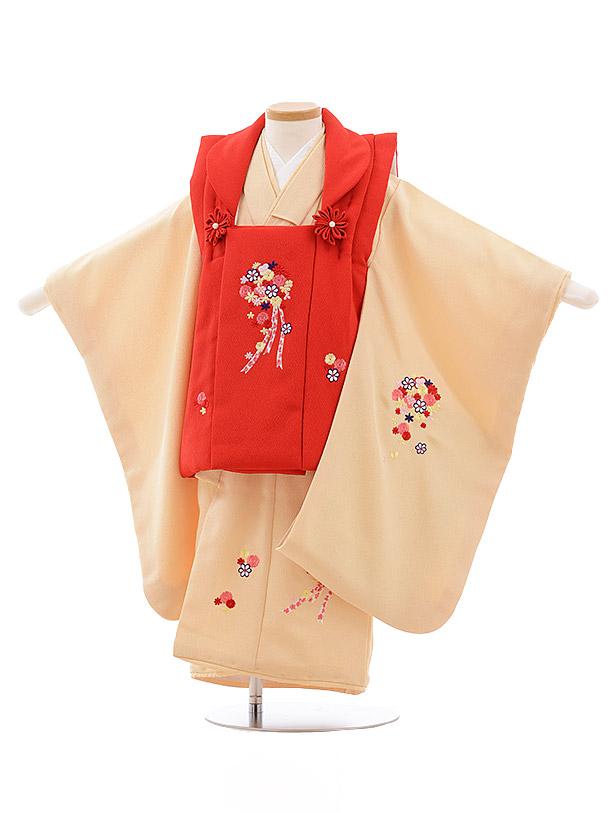 七五三レンタル(3歳女児被布)3580 赤×黄色 ブーケ
