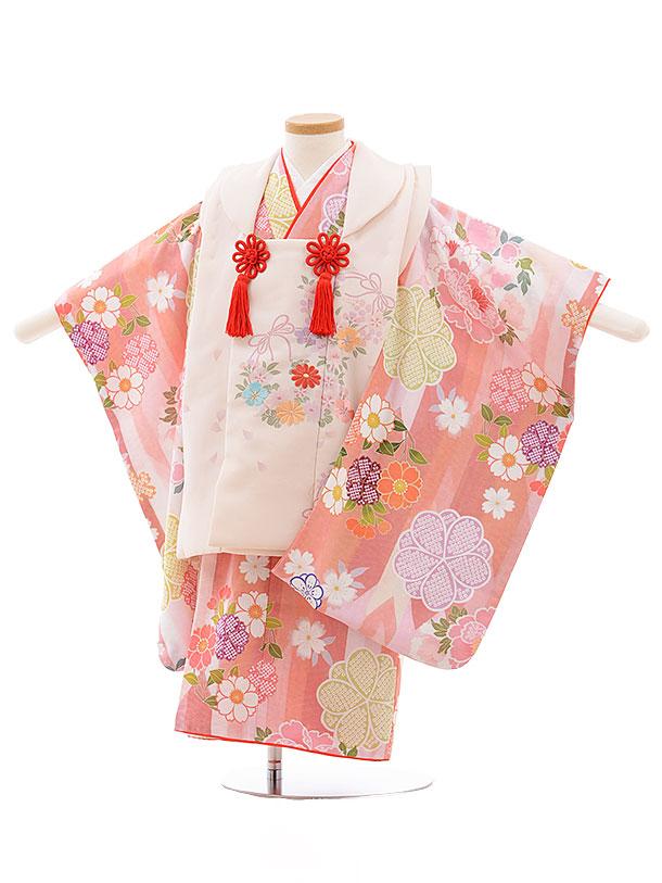 七五三レンタル(3歳女児被布)3583 うすピンク×ピンク 花