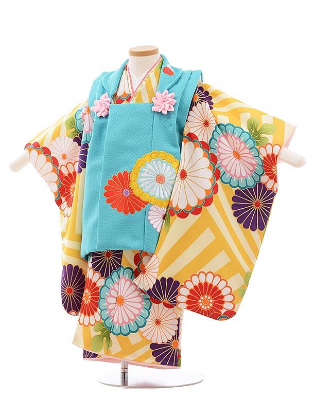 七五三レンタル(3歳女児被布)3584 花わらべ ターコイズ×からし色 菊