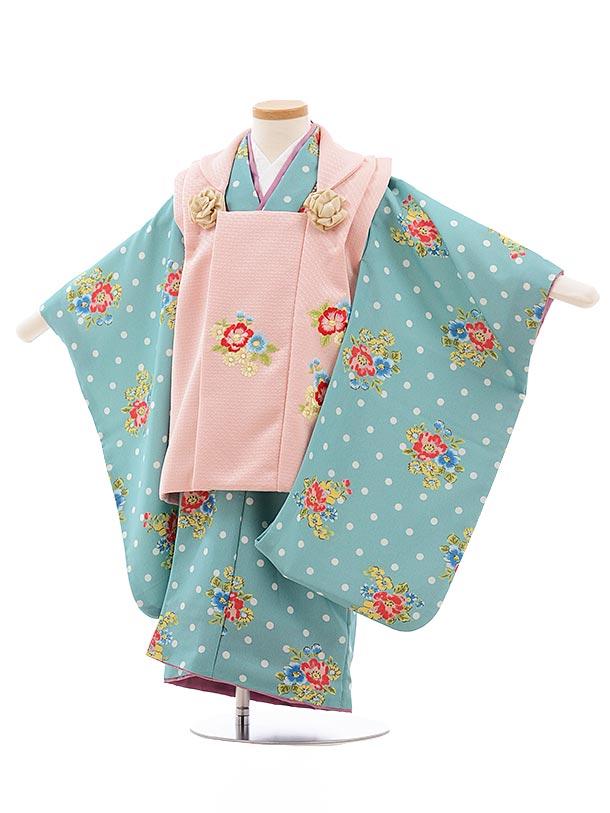 七五三(3歳女児被布)3585 ぷちぷり ピンク×ターコイズ ドット 花