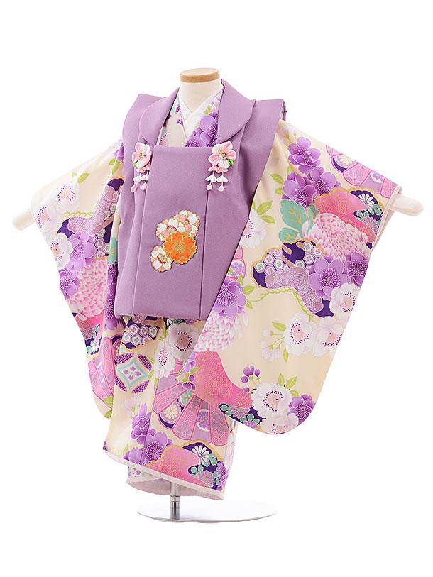 七五三レンタル(3歳女児被布)3588 ぷちぷり すみれ色×クリーム 桜