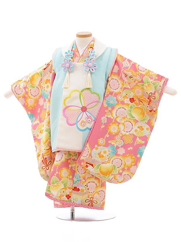 七五三レンタル(3歳女児被布)3589 乙葉 水色×ピンク 桜