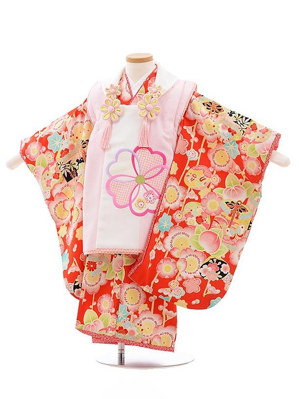 七五三レンタル(3歳女児被布)3590 乙葉 ピンク×赤 桜