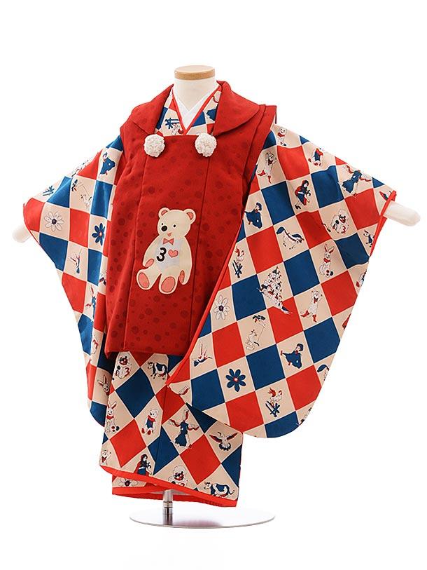 七五三レンタル(3歳女児被布)3591 モダンアンテナ 赤×ダイヤ 白 くま
