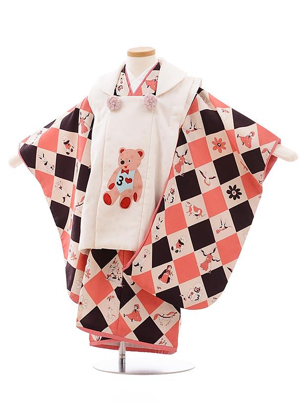 七五三(3歳女児被布)3592 モダンアンテナ 白×ダイヤ ピンク くま