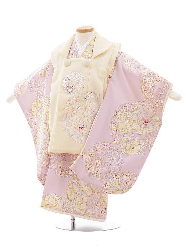 七五三(3歳女被布)3593NATURAL BEAUTYクリーム×ピンク椿に梅